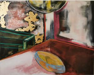 """Lemons"" Acrylic and Gold Leaf On Canvas"