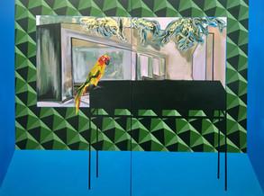 """""""Parrot"""" acrylic on canvas, spray paint 200cm x 150 cm"""