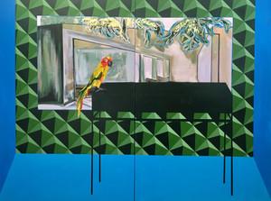"""Parrot""  acrylic, gold leaf and spray paint on canvas, 200cm x 150cm"
