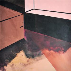 """""""Meeting The Line"""" acrylic, spray paint on canvas, 61cm x 61cm"""