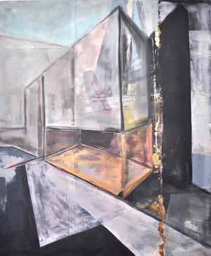 """""""Transparent Architecture"""" acrylic, oil, gold leaf on canvas , 100cm x 120cm"""