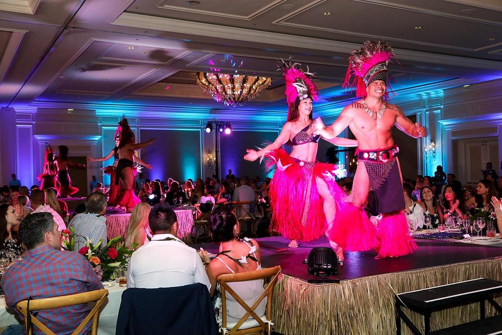 People at Hawaiian themed event