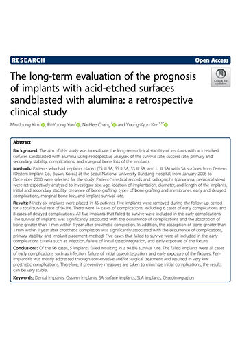 long-term evaluation of the prognosis De