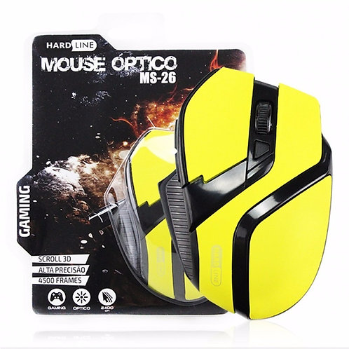 Mouse Gaming Óptico Hardline 2400dpi Amarelo - Ms26