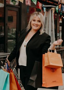 Deb shopping close up