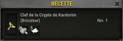 Recette clef Kardorim - Dofus