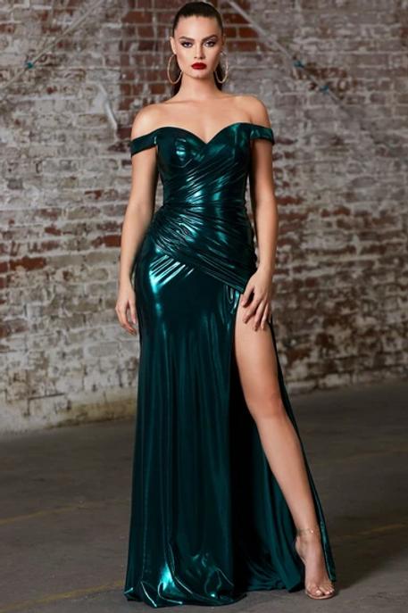 Off Shoulder Sweetheart Neck Leg Slit Dress