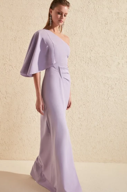One Shoulder Sheath Shape Leg Slit Dress