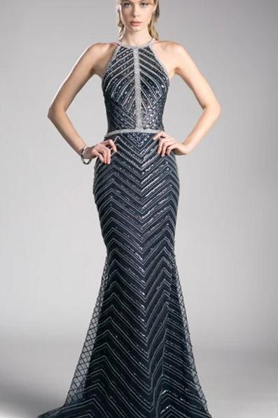 Sequined Halter Neck Mermaid Shape Dress