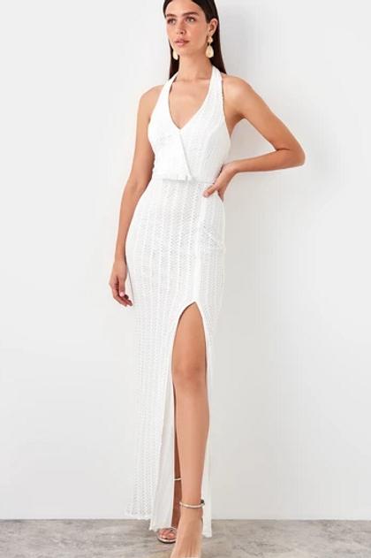 WHITE V-Neckline Sleeveless Leg Slit Long Evening Dress
