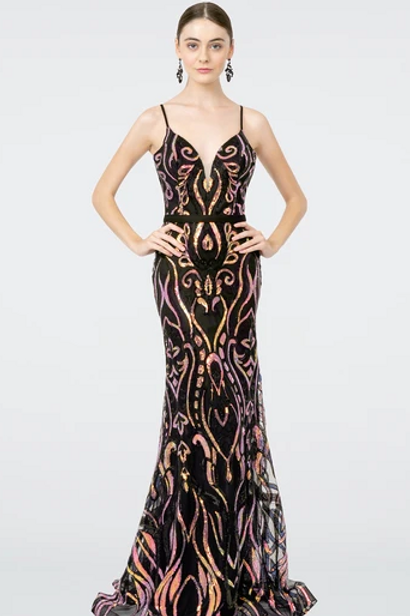 Mermad Sequin Pattern Long Dress