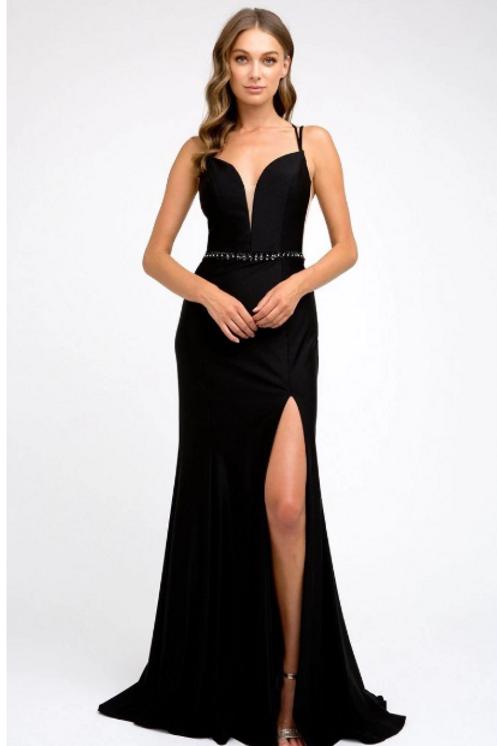 V-Neckline Prom Evening Dress