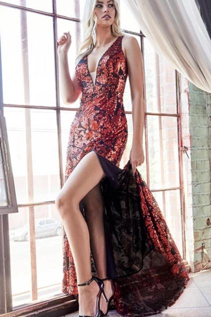 V-Neck Sequined Leg Slit Dress