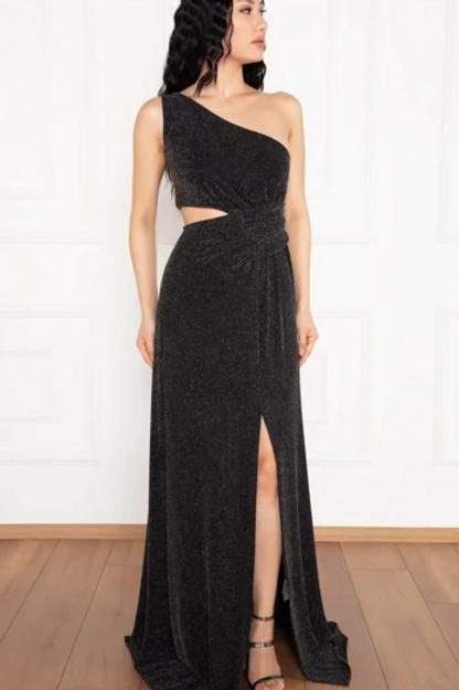 One Shoulder Glittered Leg Slit Dress
