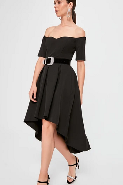 Off Shoulder Party High-Low Dress