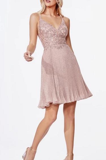 V-Neck Sequined Short Pleated Dress