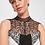 Thumbnail: Sheer Neckline Sleeveless Short Black-White Party Dress