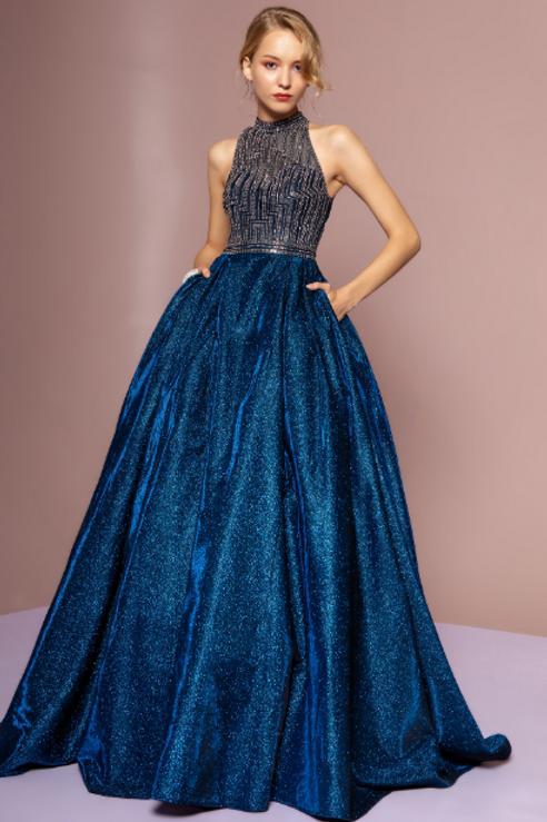 Glittered High Neckline Evening Gown