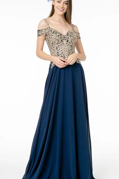 Off Shoulder Sequined Bodice Dress