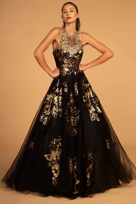Illusion Halter Neckline Floral Bodice Long Prom Dress