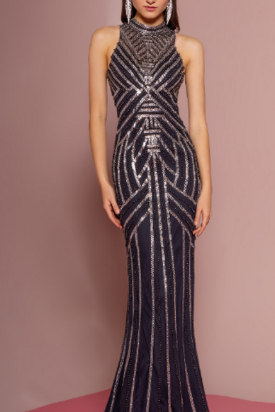 Beaded High-Neck Trumpet Dress