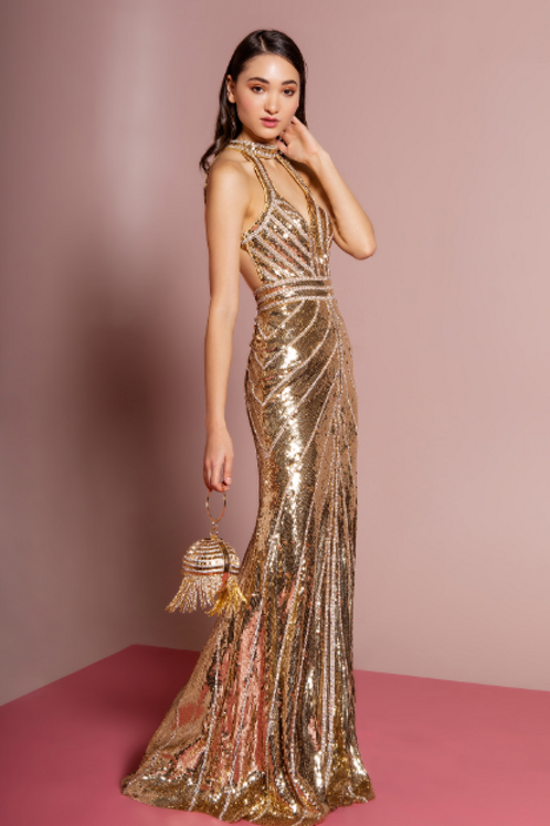 Jewel Embellished Sequin Mermaid Long Dress w/ Strap Back