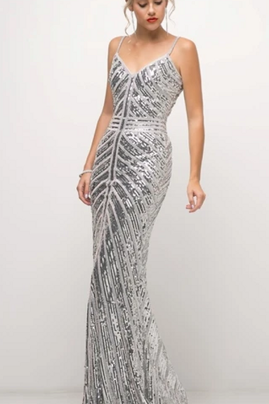 V-Neck Sequined Mermaid Shape Dress