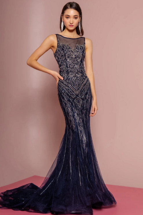 Illusion Neckline Beaded Bodice Sleeveless Long Prom Dress