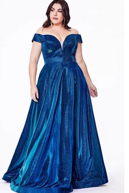 Plus Size Off Shoulder V-Neck Dress