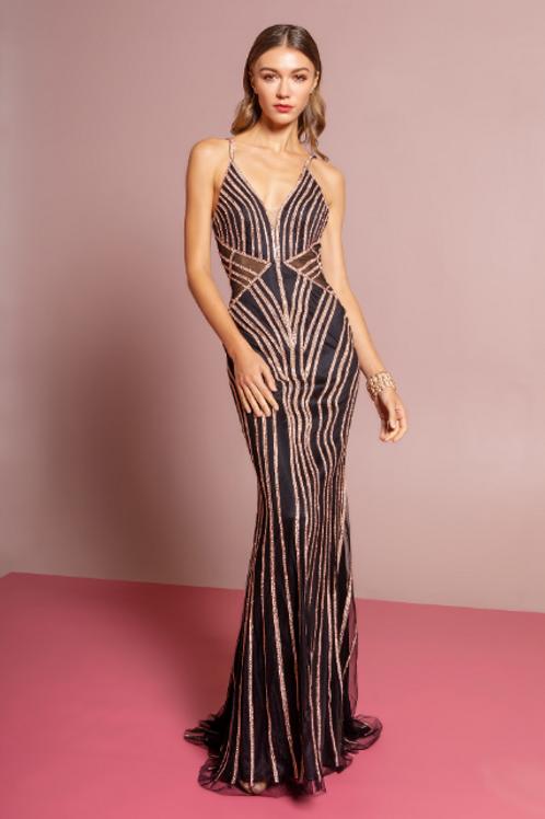 Embellished Deep V-neck Trumpet Dress