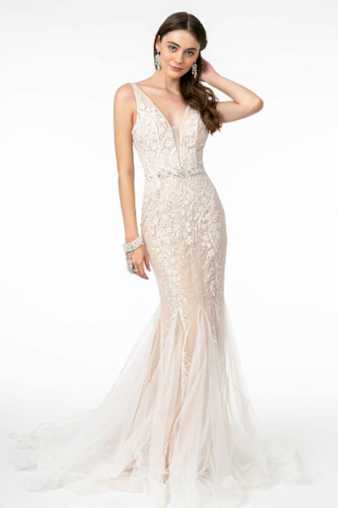 V-Neck Mermaid Long Dress w/ V-Back
