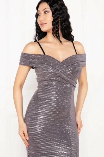 Sequined Off Shoulder Mermaid Shape Leg Slit Dress