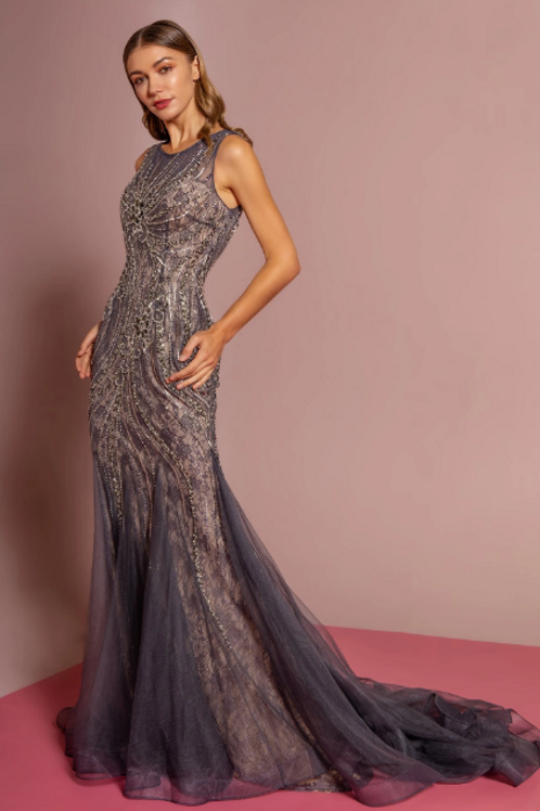 Scoop Neckline Sleeveless Jewel Embelished Long Prom Dress