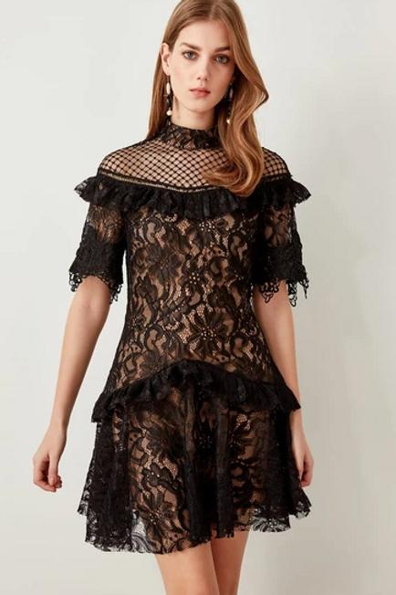 Long Sleeves Evening Short Dress