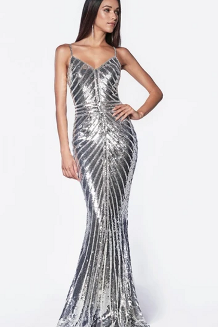 Fitted gown with metallic sequined and art deco beaded details