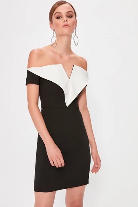Off Shoulder Evening Sheath Short Dress