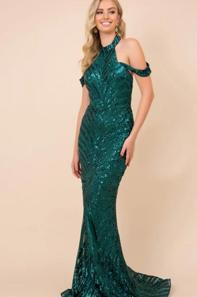 Halter Neck Mermaid Sequined Dress