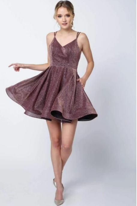 V-Neckline A-Line Short Homecoming Dress