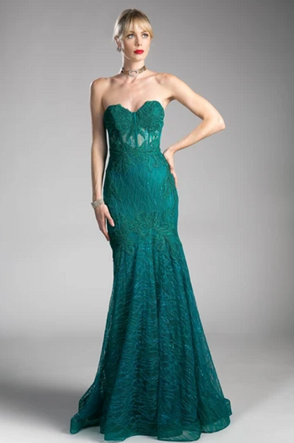 Strapless Mermaid Shape Lace Dress