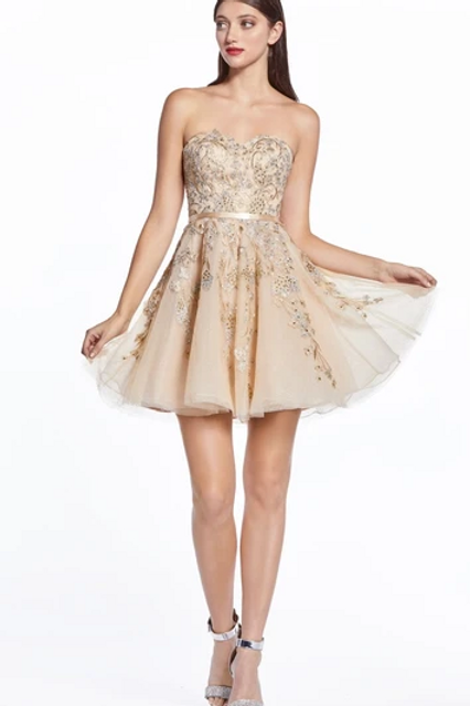 Strapless Sweetheart Neck Lace Dress