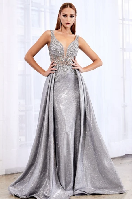 Sequined Bodice Sleeveless A-Line Dress