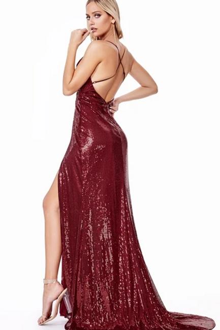 Deep V-Neck Double Slit Sequined Dress