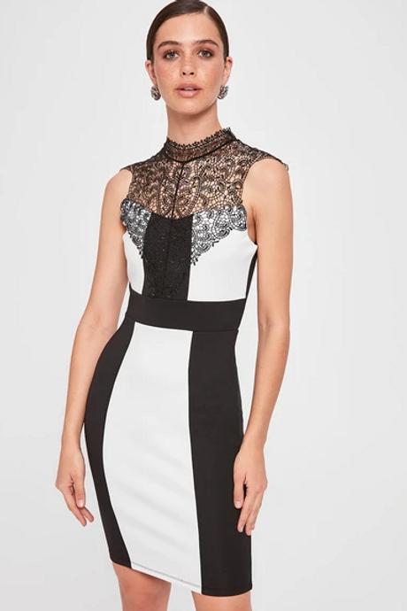 Sheer Neckline Sleeveless Short Black-White Party Dress