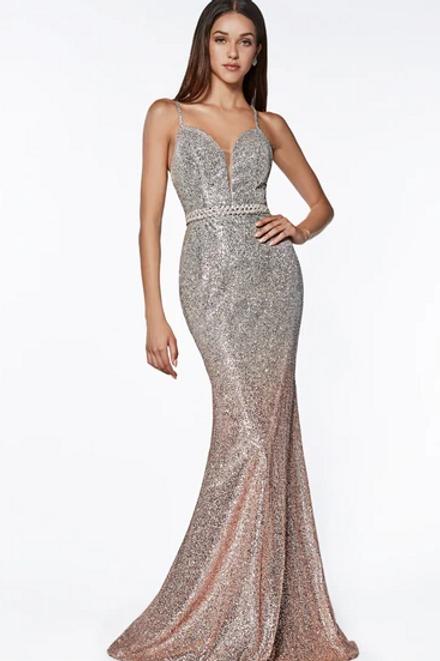Glittered Mermaid Shape Spaghetti Strap Dress