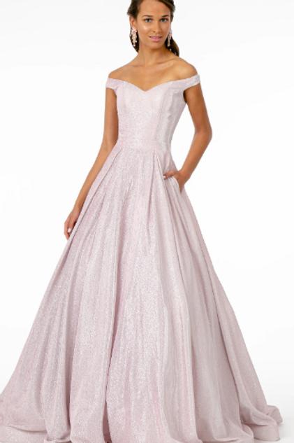Off Shoulder Ballgown Shape Prom Dress