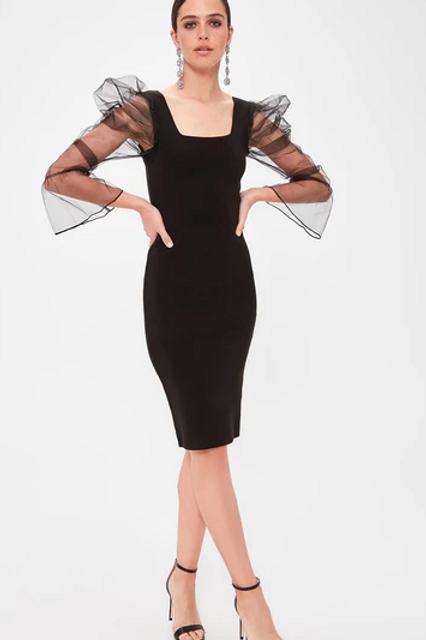 Black Evening Sheath Shape Midi Dress