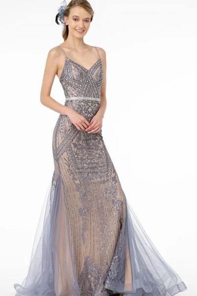 V-Neck Spaghetti Strap Mermaid Dress