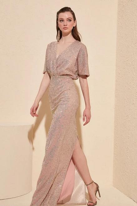 Sequined V-Neck Short Sleeve Long Dress