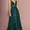 Thumbnail: Beaded Bodice V-Neckline Long A-line Prom Dress