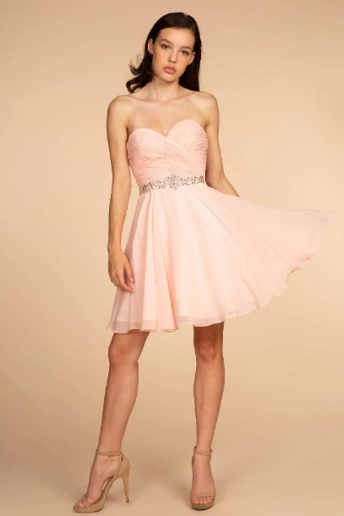 Strapless A-Line Chiffon Short Dress